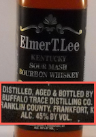 Detail showing Distilled, Aged, and Bottled by Buffalo Trace Distilling Co.
