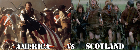 Mel Gibson as the Patriot vs Mel Gibson as William Wallace, presumably fighting over whiskey.
